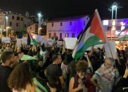 من المظاهرة الاحتجاجية في حيفا، مساء اليوم (عرب 48)