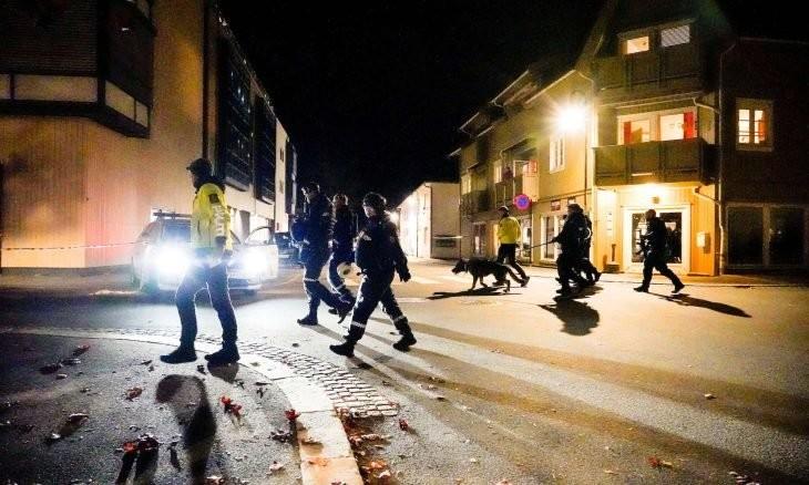 قوات شرطة نرويجية في مكان الهجوم